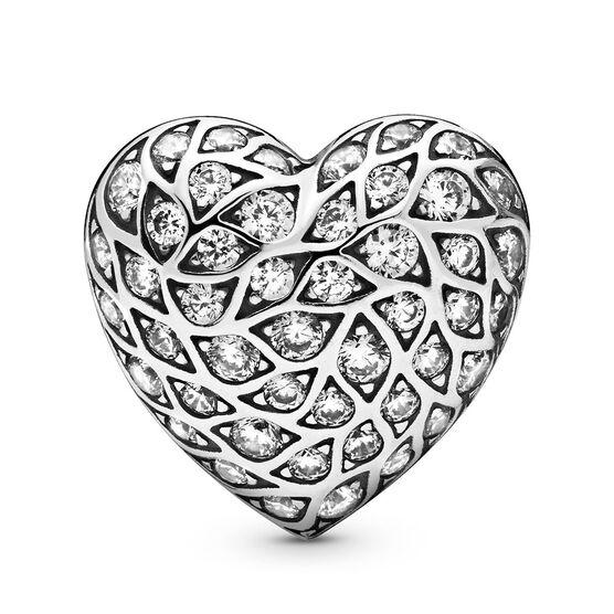 Pandora Limited Edition Sparkling Pattern Heart Single CZ Stud Earring