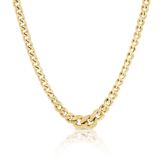 Toscano Graduated Curb Necklace 18K, 18""
