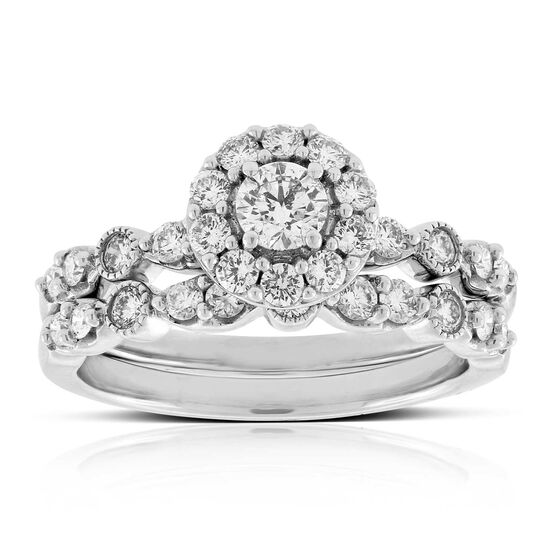 Halo Diamond Wedding Set 14K
