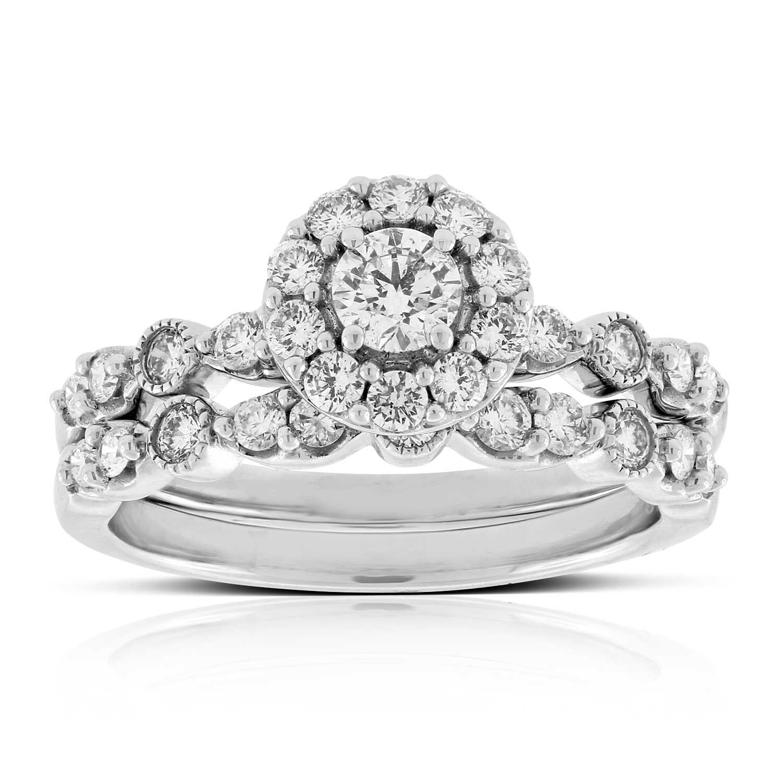Halo Diamond Wedding Set 14K ...