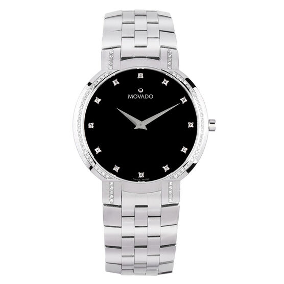Pre-Owned Movado Faceto Black Dial Diamond Watch, 38mm