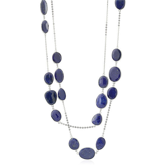 "Lisa Bridge Lapis Lazuli Station Necklace, 34"""