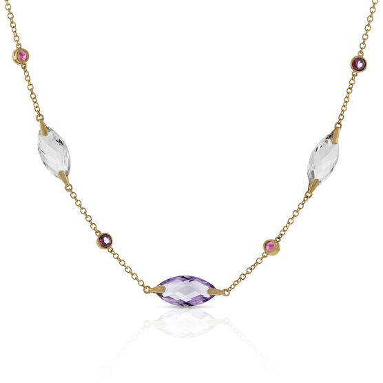 Amethyst, Quartz & Garnet Necklace 14K