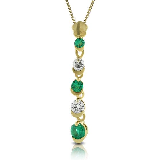 Emerald & Diamond Stick Pendant 14K
