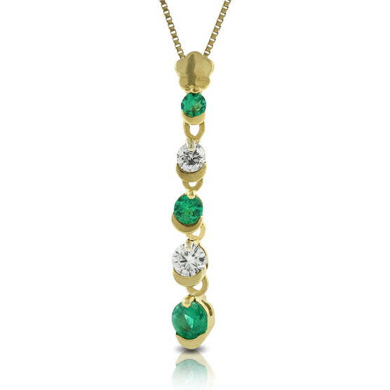 Emerald & Diamond Stick Pendant 14K