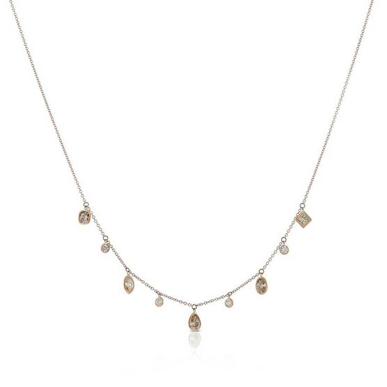 Rose Gold Brown & White Diamond Dangle Necklace 14K