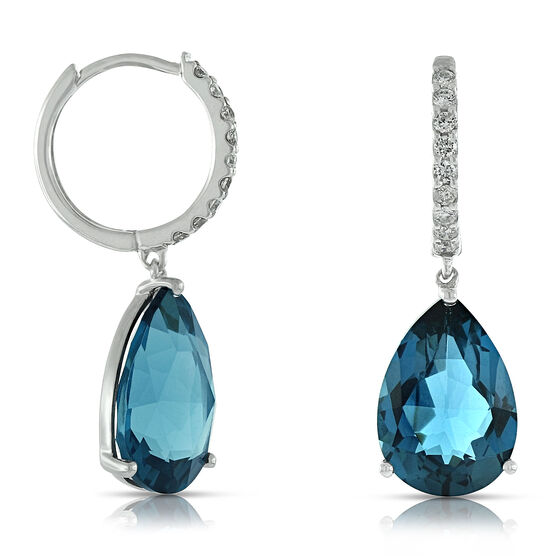 Blue Topaz & Diamond Hoop Earrings 14K