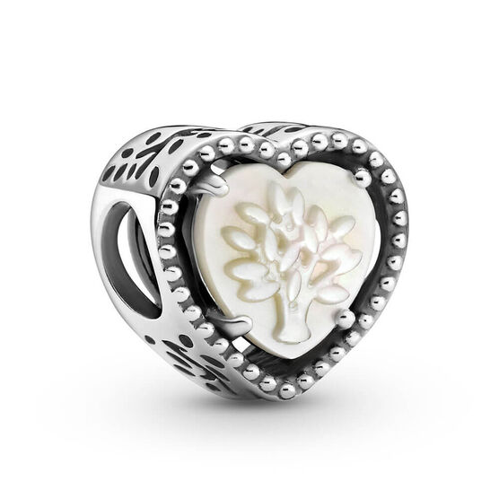 Pandora Openwork Heart & Family Tree Mother of Pearl Charm