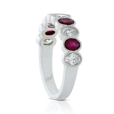 Alternating Oval Ruby & Diamond Band 14K
