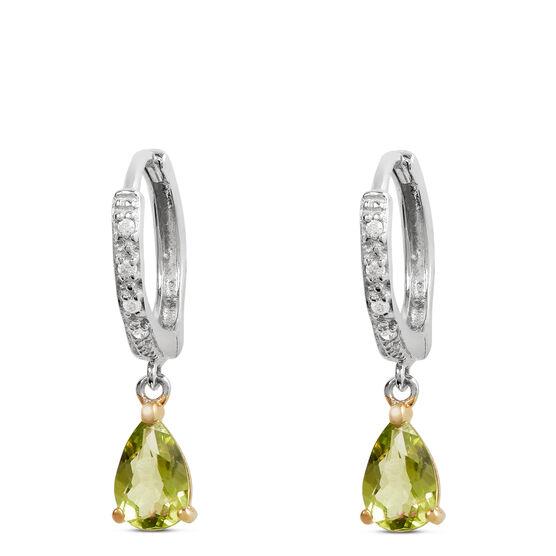 Two-Tone Pear-Shaped Peridot & Diamond Earrings 14K