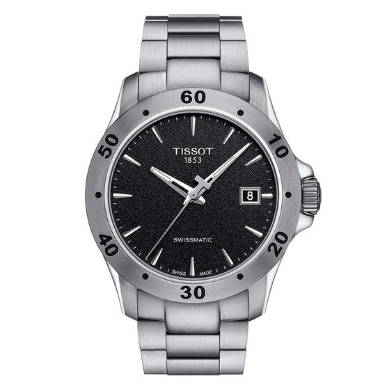 Tissot V8 Swissmatic Black Dial Steel Automatic Watch, 42.5mm
