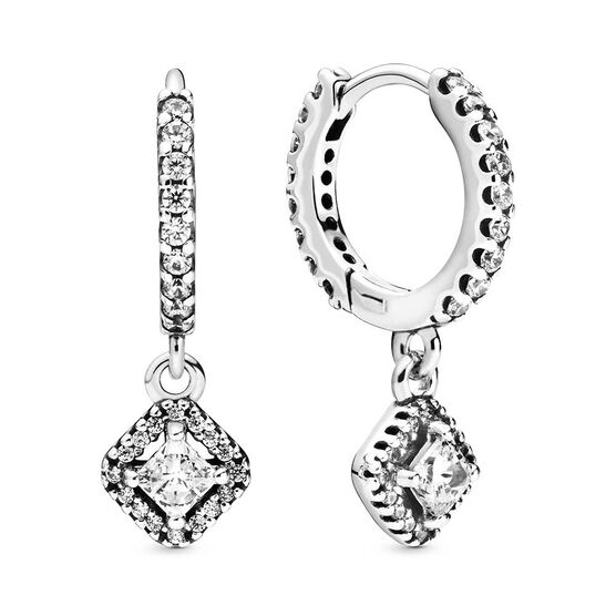 Pandora Square Sparkle CZ Hoop Earrings