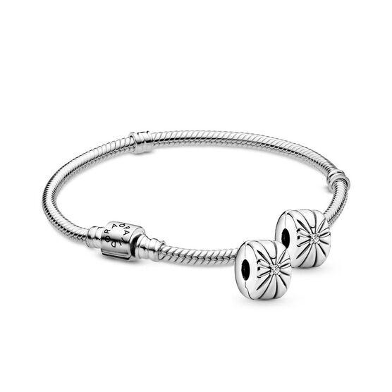 Pandora Iconic Clasp Bracelet & CZ Clips Gift Set with Free Charm