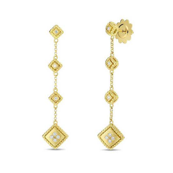 Roberto Coin Palazzo Ducale Satin 2-Drop Diamond Earrings 18K