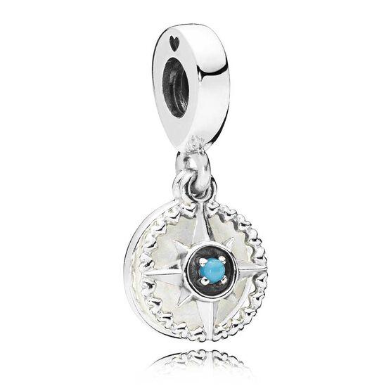Pandora Compass Rose Enamel & Crystal Dangle Charm