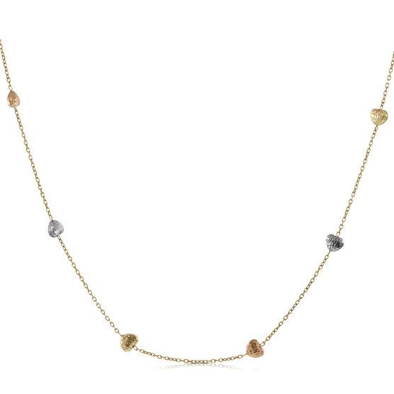 Tri-Color Heart Necklace 14K
