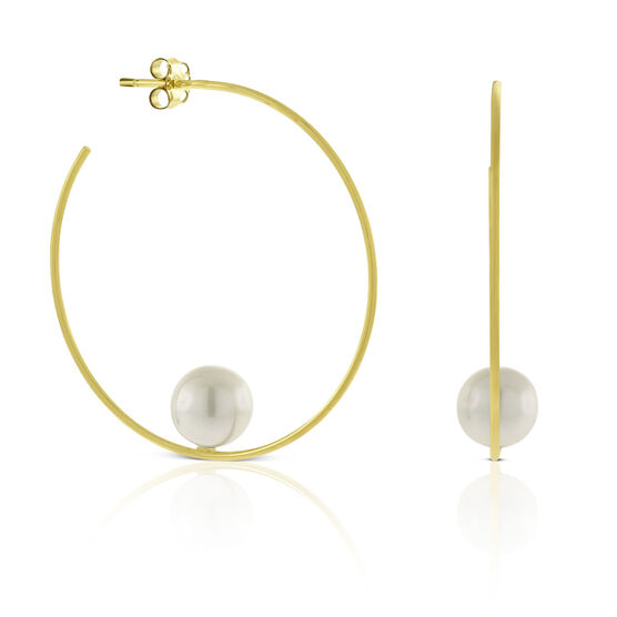 Balanced Cultured Pearl Hoop Earrings 14K
