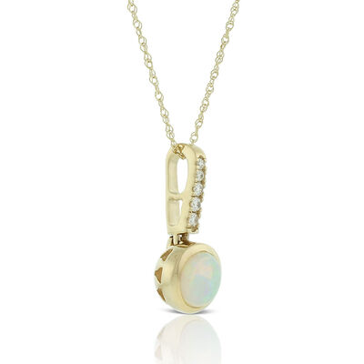 Bezel Set Opal & Diamond Necklace 14K