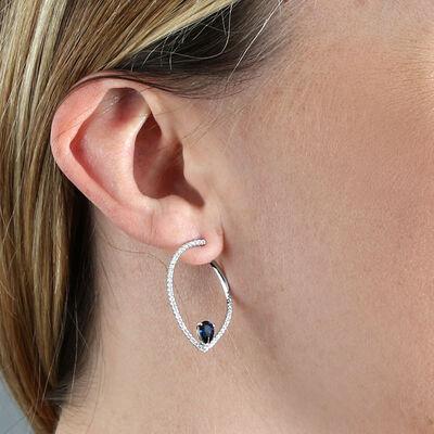 Sapphire & Diamond Pear Front to Back Hoop Earrings 14K