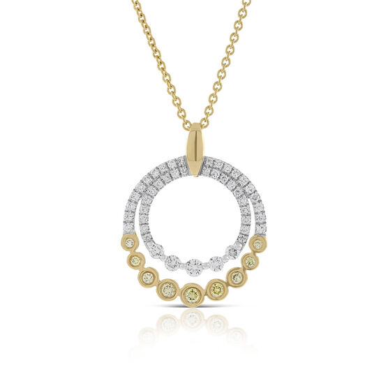Graduated Yellow & White Diamond Circles Pendant 14K