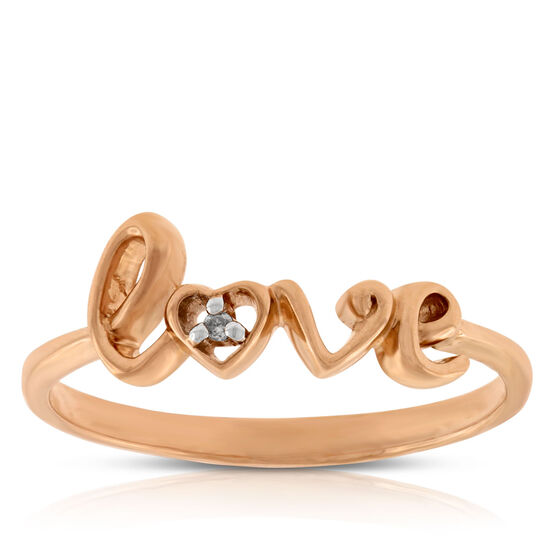 Rose Gold Diamond LOVE Ring 14K