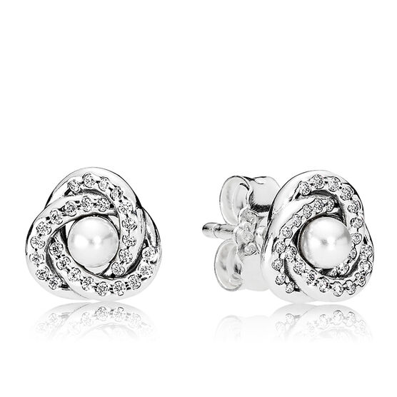 PANDORA Luminous Love Knots Crystal Pearl & CZ Earrings
