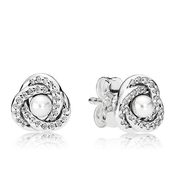 Pandora Luminous Love Knots Crystal Pearl Amp Cz Earrings