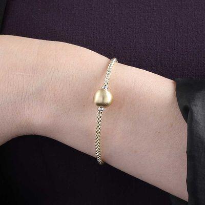Toscano Satin Ball Bead Stretchy Popcorn Bracelet 14K