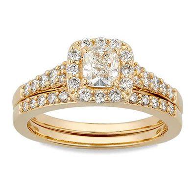 Cushion Cut Diamond Halo Bridal Set 14K