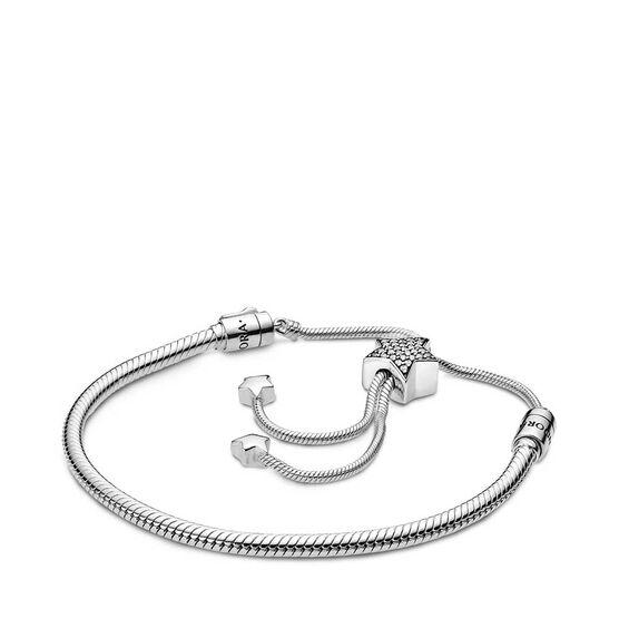 Pandora Moments Pavé CZ Star & Snake Chain Sliding Bracelet