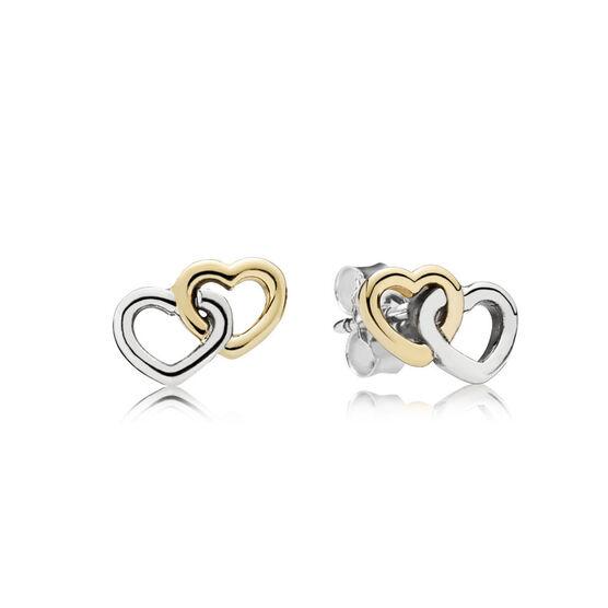 Pandora Heart to Heart Earrings, Sterling Silver & 14K