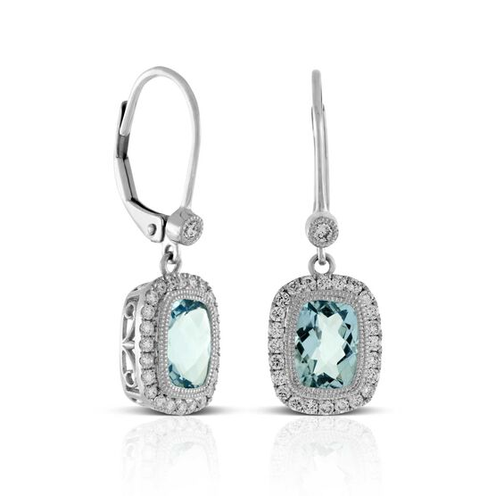 Dangling Aquamarine & Diamond Earrings 14K