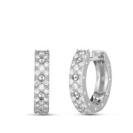 Roberto Coin Symphony Pois Moi Diamond Hoop Earrings 18K