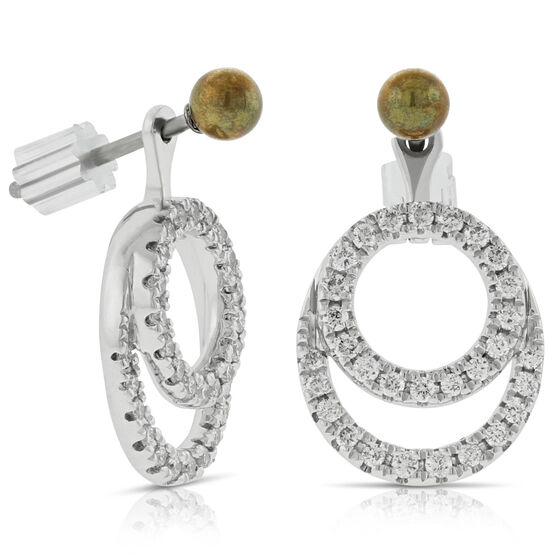 Convertible Diamond Earrings Jackets Without Stud 14K