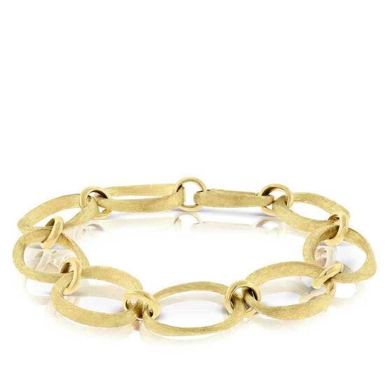 Toscano Oval Satin Link Bracelet 14K