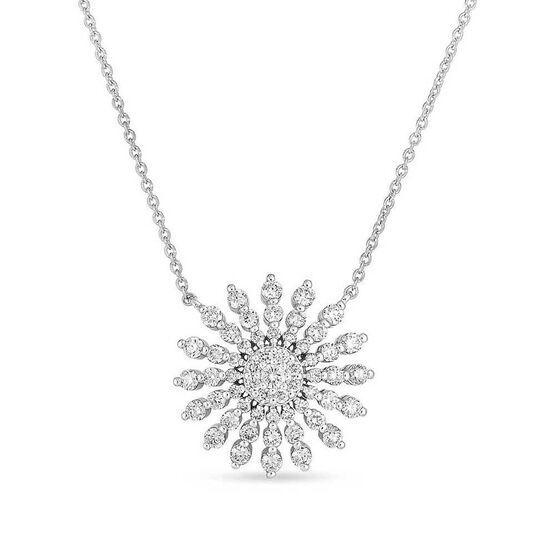 Roberto Coin Tiny Treasures Diamond Sunburst Necklace 18K