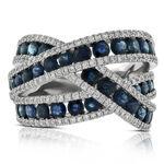 Sapphire & Diamond Crossover Ring 14K