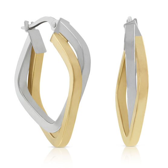 Toscano Two-Tone Squared Hoop 18K