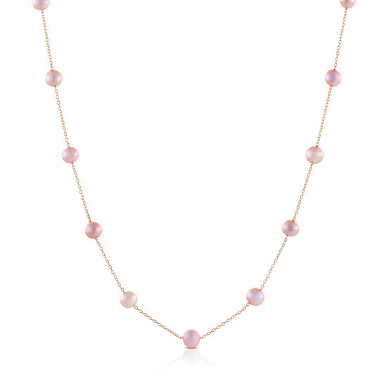 Rose Gold Freshwater Cultured Pearl Necklace 14K