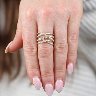 Criss Cross Diamond Band 14K