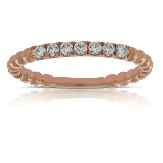 Rose Gold Beaded Diamond Band 14K