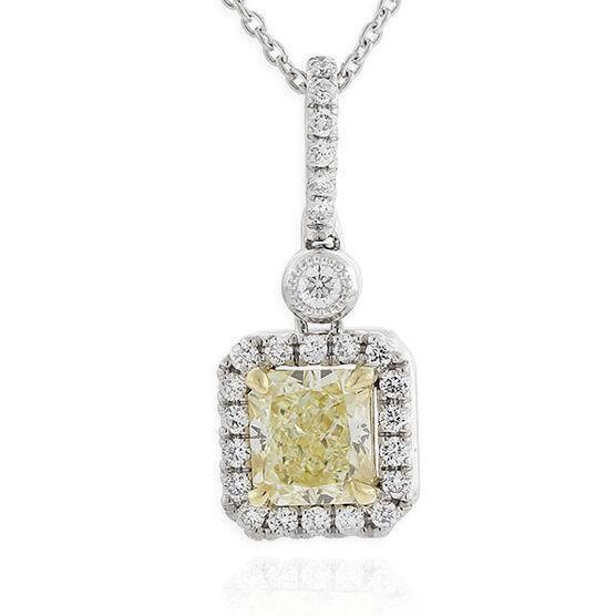 Radiant Cut Yellow Diamond Halo Pendant .74 Ct. Center, 18K