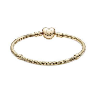 Pandora Moments Heart Clasp Snake Chain Bracelet 14K