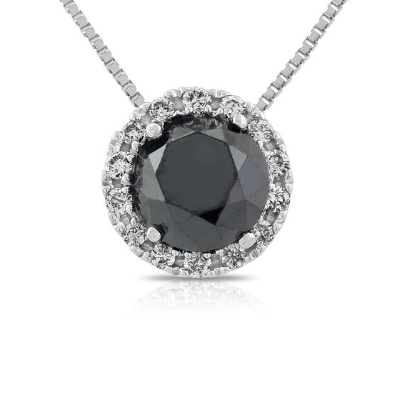 Black & White Diamond Halo Pendant 14K