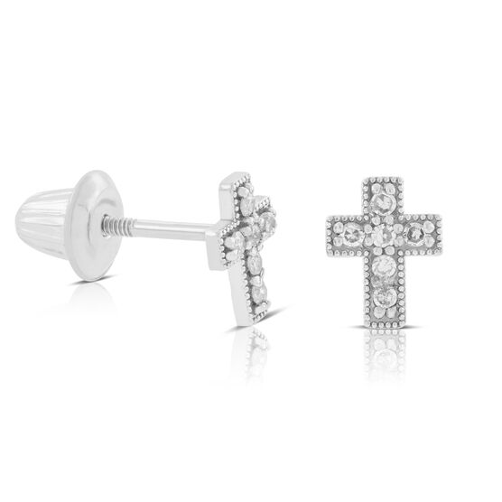 Baby Cross Diamond Earrings 14K