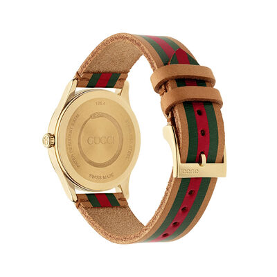 Gucci G-TIMELESS Two-Tone Leather Gold PVD Watch