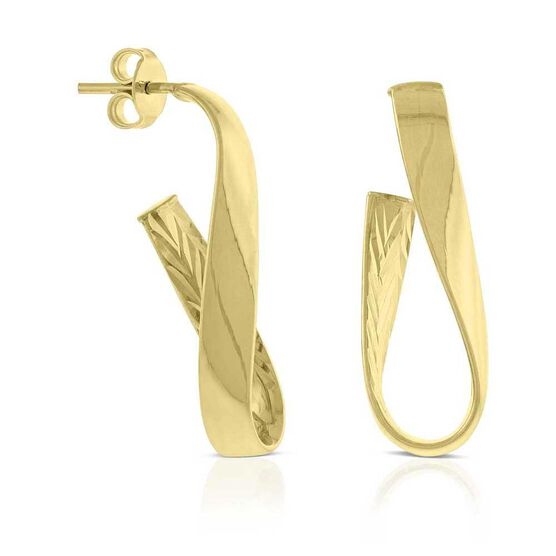 Curled Ribbon Hoop Earrings 14K