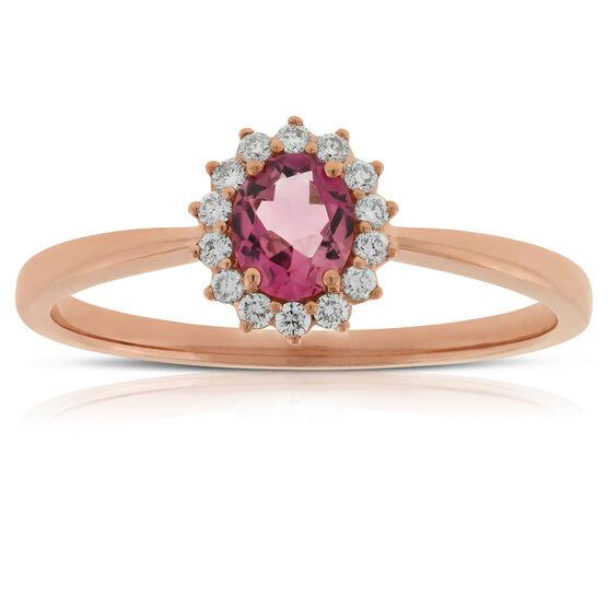 Rose Gold Tourmaline & Diamond Halo Ring 14K