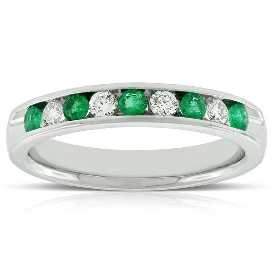 Emerald & Diamond Band 14K