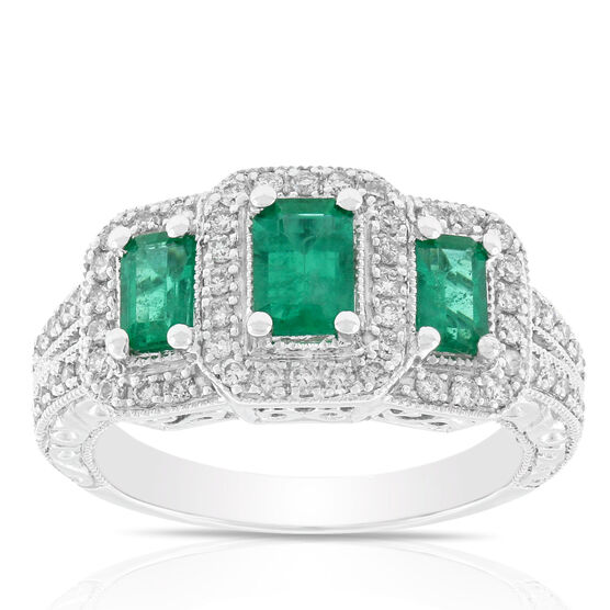 Emerald & Diamond 3-Stone Ring 14K